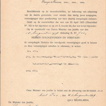 1919 Goedkeuring door Hare Majesteit